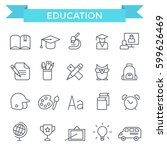 education icons  thin line ... | Shutterstock .eps vector #599626469