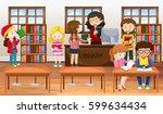 kids in a school library | Shutterstock .eps vector #599634434