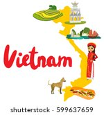 vietnam map with sights and... | Shutterstock .eps vector #599637659