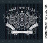 motorbike wheel in center of... | Shutterstock .eps vector #599637785