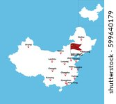 a detailed map of china with... | Shutterstock .eps vector #599640179