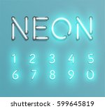 glowing neon font set   vector... | Shutterstock .eps vector #599645819