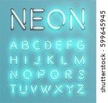 glowing neon font set   vector... | Shutterstock .eps vector #599645945