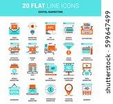 vector set of digital marketing ... | Shutterstock .eps vector #599647499