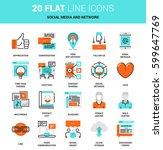 vector set of social media and... | Shutterstock .eps vector #599647769
