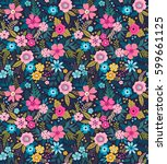 amazing seamless floral pattern ... | Shutterstock .eps vector #599661125