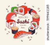 asian food frame. vector hand... | Shutterstock .eps vector #599661185