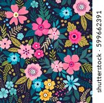 amazing seamless floral pattern ... | Shutterstock .eps vector #599662391