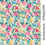 amazing seamless floral pattern ... | Shutterstock .eps vector #599662499
