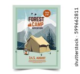 summer camp poster. tent ... | Shutterstock .eps vector #599662811