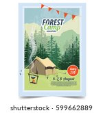 summer camp poster. tent ... | Shutterstock .eps vector #599662889
