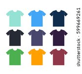 t shirts icons set on a white... | Shutterstock .eps vector #599669261