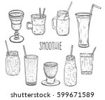 smoothie set. healthy food.... | Shutterstock .eps vector #599671589