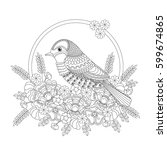 fantasy bird in flowers.... | Shutterstock .eps vector #599674865