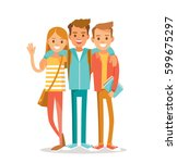 group of international students ... | Shutterstock .eps vector #599675297