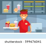 fast food restraurant worker | Shutterstock .eps vector #599676041