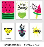 a set of stylish summer cards.... | Shutterstock .eps vector #599678711