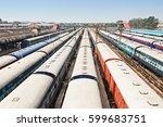many trains at new delhi train... | Shutterstock . vector #599683751
