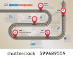 design template  road map... | Shutterstock .eps vector #599689559