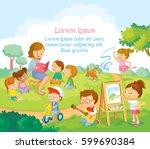 group children playing ... | Shutterstock .eps vector #599690384