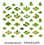 set of 3d isometric urban parks.... | Shutterstock .eps vector #599691695