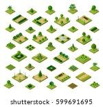 set of 3d isometric urban parks.... | Shutterstock .eps vector #599691695