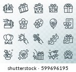 simple set of gifts related.... | Shutterstock .eps vector #599696195