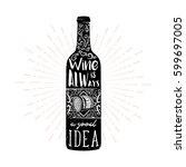 wine typography illustration in ... | Shutterstock .eps vector #599697005