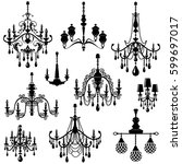 set of decorative elegant... | Shutterstock . vector #599697017