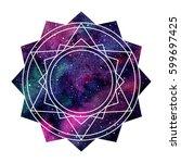 geometric cosmic mandala...   Shutterstock .eps vector #599697425