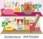dolls house floors interior.... | Shutterstock .eps vector #599701604