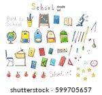 hand drawn school doodle set... | Shutterstock .eps vector #599705657