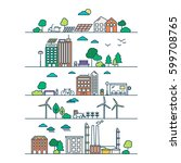 eco city in linear style  ... | Shutterstock .eps vector #599708765