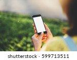 mock up of modern smartphone... | Shutterstock . vector #599713511
