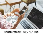 woman use laptop with iot ... | Shutterstock . vector #599714405