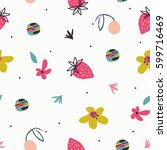 summer vector flower pattern.... | Shutterstock .eps vector #599716469