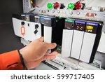 plc programable logic controler ...   Shutterstock . vector #599717405