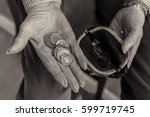 money in the palm of a... | Shutterstock . vector #599719745