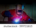 industrial worker at the... | Shutterstock . vector #599721815