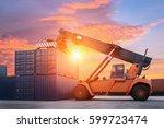 forklift handling container box ... | Shutterstock . vector #599723474