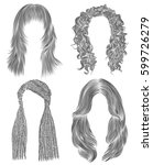 set long woman hairs  . black ... | Shutterstock .eps vector #599726279