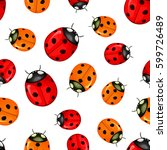 pattern with red ladybugs... | Shutterstock .eps vector #599726489