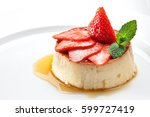 milk pudding with caramel and... | Shutterstock . vector #599727419