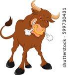angry bull cartoon | Shutterstock .eps vector #599730431