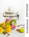easter cookies in glass jar. | Shutterstock . vector #599732069