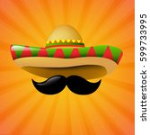 mexico sombrero with gradient... | Shutterstock .eps vector #599733995