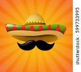 mexico sombrero with gradient... | Shutterstock .eps vector #599733995