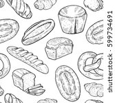 seamless food sketch pattern.... | Shutterstock .eps vector #599734691