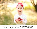 laughing baby girl 4 5 year old ... | Shutterstock . vector #599738609