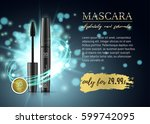 luxury mascara ads  black and... | Shutterstock .eps vector #599742095